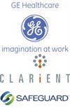 GE Healthcare, Clarient, Safeguard logos